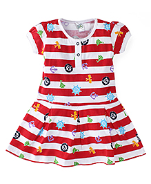Babyhug Cap Sleeves Stripes And Over All Print Frock - Red