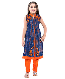 Betty By Tiny Kingdom Kurti & Churidar Set - Blue & Orange