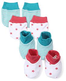 Babyhug Star And Stripe Print Mitten Bootie Set Green Pink - Pack Of 2