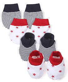 Babyhug Star And Stripe Print Mitten Bootie Set Red Black - Pack Of 2