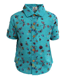 A Little Fable Half Sleeves Shirt Bugs Print - Seagreen