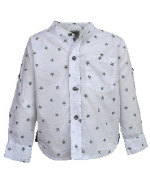 A Little Fable Full Sleeves Shirt Stars Print - White
