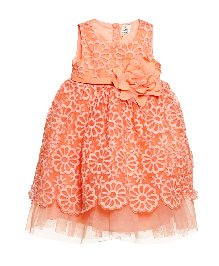 A Little Fable Sleeveless Party Wear Frock Floral Applique - Peach