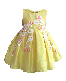 A Little Fable Sleeveless Party Wear Frock Floral Applique - Yellow