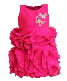 A Little Fable Sleeveless Party Wear Frock Butterfly Applique - Fuchsia