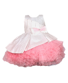 Darlee&Dache Sleeveless Party Dress Bow Applique - Pink