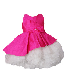 Darlee&Dache Sleeveless Party Dress Bow Applique - White And Pink