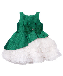 Darlee&Dache Sleeveless Party Dress Bow Applique - White And Green