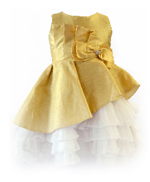 Darlee&Dache Sleeveless Party Dress Bow Applique - White And Golden