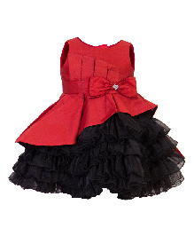 Darlee&Dache Sleeveless Party Dress Bow Applique - Black And Red