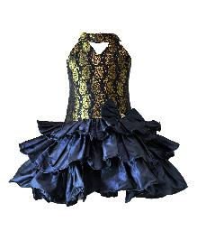 Darlee&Dache Halter Neck Party Dress Frill Pattern - Navy Blue