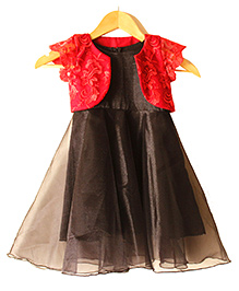 Frills N Frocks Dress With Shrug - Black