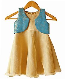 Frills N Frocks Stylish Dress With Brocade Shrug - Gold