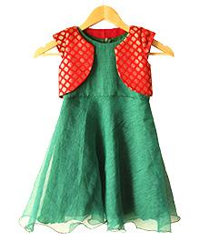 Frills N Frocks Dress With Shrug - Green