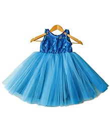 Frills N Frocks Dress With Floral Applique - Blue