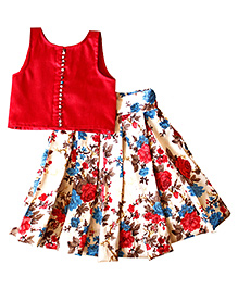 Frills N Frocks Crop Top And Box Pleated Skirt - Maroon