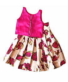 Frills N Frocks Crop Top And Box Pleated Skirt - Magenta