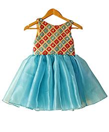Frills N Frocks Aqua Mirror Embroidered Dress - Aqua Blue