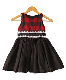 Frills N Frocks Check Dress - Black