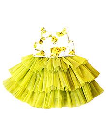 Frills N Frocks Tutu Skirt With Floral Printed Crop Top - Green