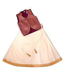 Frills N Frocks Brocade Ethnic Wear - Maroon