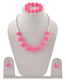 Miss Diva Beaded Necklace Bracelet & Earrings Set - Bright Pink