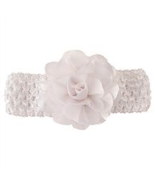 Miss Diva Elegant Flower Soft Headband - White