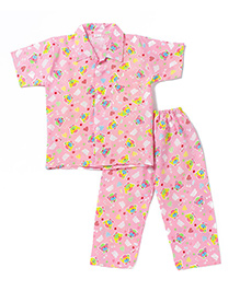 BownBee Half Sleeves Night Suit Bear Print - Pink