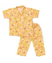 BownBee Half Sleeves Night Suit Bear Print - Orange