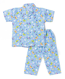 BownBee Half Sleeves Night Suit Bear Print - Blue