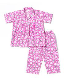 BownBee Half Sleeves Night Suit Floral Print - Pink