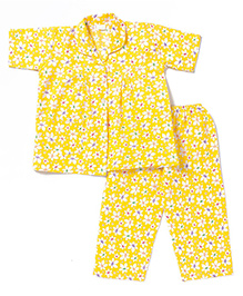 BownBee Half Sleeves Night Suit Floral Print - Yellow