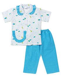 BownBee Half Sleeves Night Suit Polka Dot Fruit Print - Blue