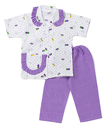 BownBee Half Sleeves Night Suit Polka Dot Fruit Print - Purple
