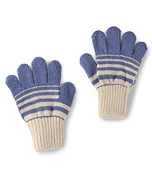 Model Warm Gloves Striped - Blue And Off White