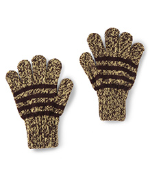 Model Warm Gloves Leaf Print - Yellow And Coffee