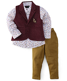 Robo Fry Full Sleeves Shirt Jacket Trouser - Beige & Maroon