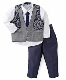 Robo Fry 3 Piece Party Suit With Tie - Dark Blue Grey White