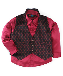 Robo Fry Full Sleeves Shirt And Waist Coat Set - Maroon