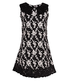 Cutecumber A-line Dress Floral Print - Black