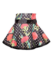 Cutecumber Party Wear A-Line Skirt Bow Applique - Black