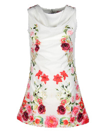 Cutecumber Floral Print Embellished A-Line Dress - Cream