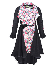 Cutecumber Sleeveless Dress With Shrug Floral Print - Pink And Black