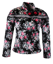 Cutecumber Full Sleeves Floral Top - Black