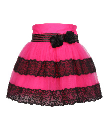 Cutecumber Netted Party Skirt Bow Applique - Pink