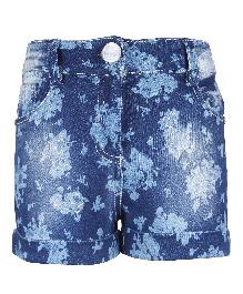 Cutecumber Denim Shorts Floral Design - Blue