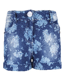 Cutecumber Denim Shorts Floral Design - Blue