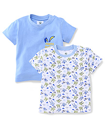 Ohms Half Sleeves T-Shirt Happy Bunny & Multi Print Multi Print Pack Of 2 - White & Blue