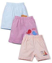 Ohms Shorts Pack of 3 Multi Print - Blue Peach Green