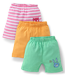 Ohms Shorts Pack of 3 Multi Print - Pink Yellow Green